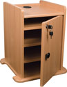 Locking Cabinet for Sit-Stand Projector Cart - Teak