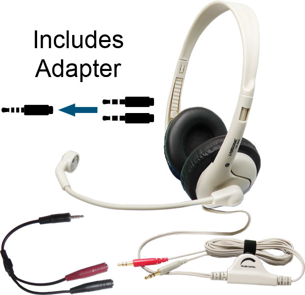 Labsonic LS355-M School Headset - Dual Plug with Single Plug Adapter