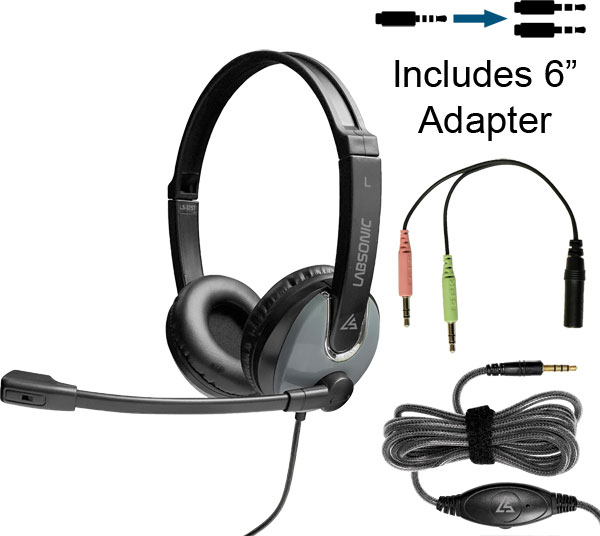 Labsonic LS375T-12P-6 School Headset - Single Plug with 6in Dual Plug Adapter