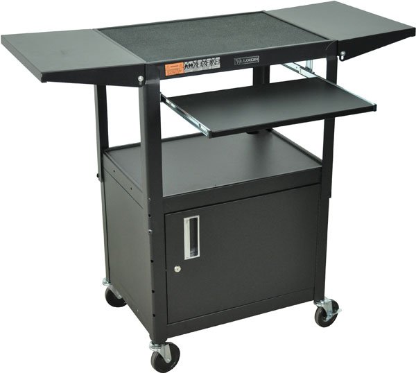 Height Adjustable Steel Cart with Locking Cabinet and Drop Leaf Shelves