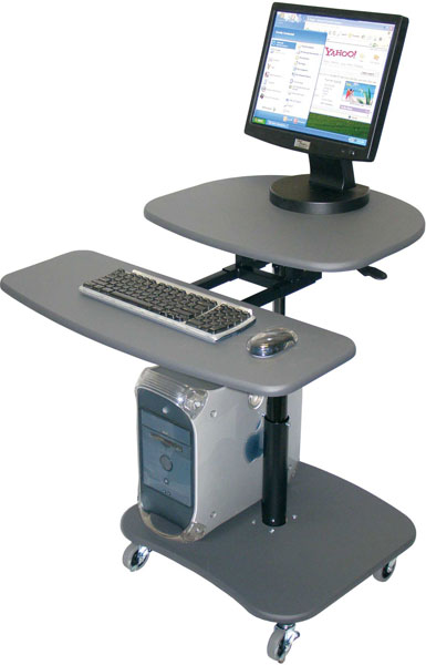 "Adjustable Height Mobile Computer Workstation - Height Adjustable 30"" - 37"""