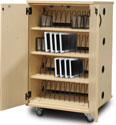 48 Slot Laptop Charging Cart with Wood-Tone Laminate